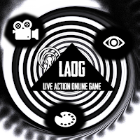 LAOG logo floating in a spiral between a camera, an eye and a palette icon