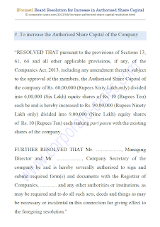 board resolution for increase in authorised share capital as per companies act 2013