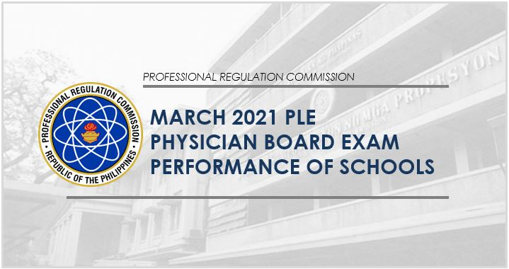 Physician board exam result: PLE performance of schools March 2021