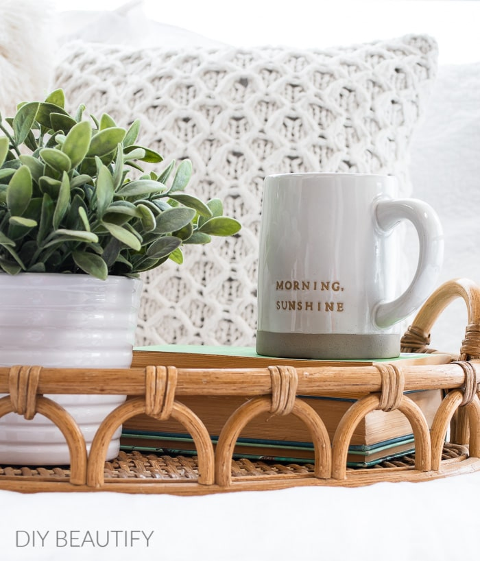 woven tray, faux plant, pillows and stoneware mug