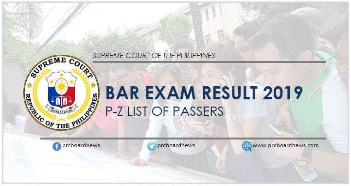 Bar Exam Result 2019: P-Z passers