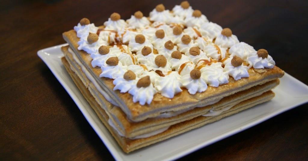 Millefoglie con crema cheesecake al passito, amaretti e caramello salato
