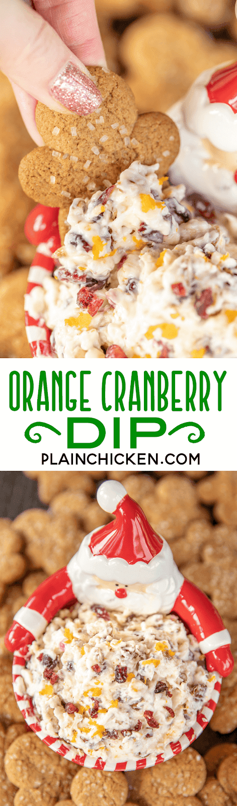 collage of 2 photos of cranberry dip