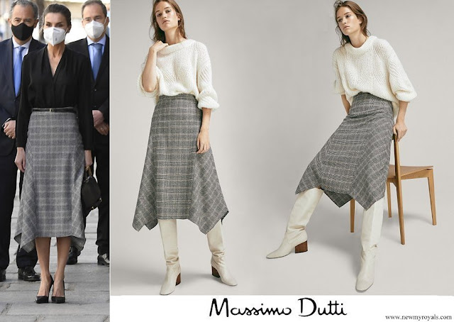 Queen Letizia wore Massimo Dutti Pointed-check wool skirt