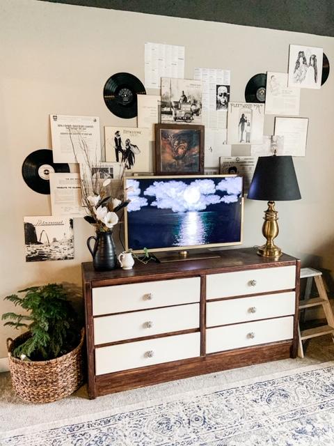 record sleeves hung around tv