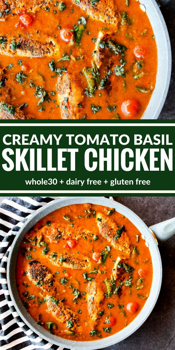 4.1★★★★★  You're going to love this Creamy Tomato Basil Skillet Chicken! It's all about the sauce over perfectly sauteed chicken. Plus it's surprisingly dairy free, gluten free, and Whole30!