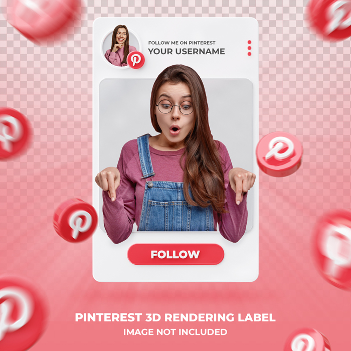 Banner Icon Profile Pinterest 3D Rendering Label Template