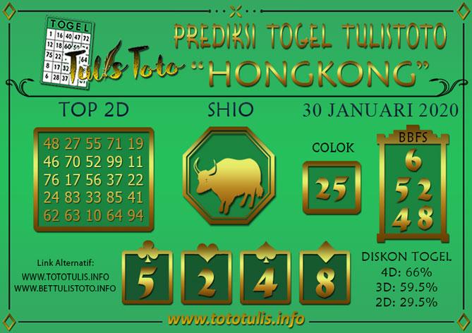 Prediksi Togel HONGKONG TULISTOTO 30 JANUARI 2020