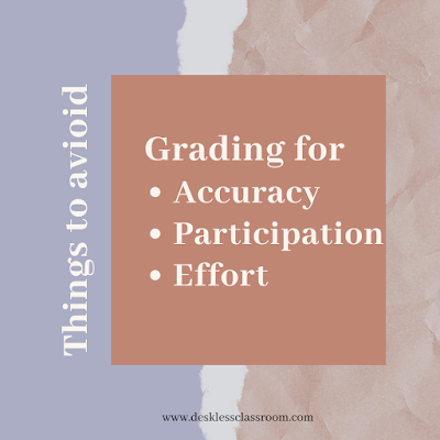 Things to avoid: grading for accuracy, participation, effort. Text is overlaid on a terracotta and lavender background.