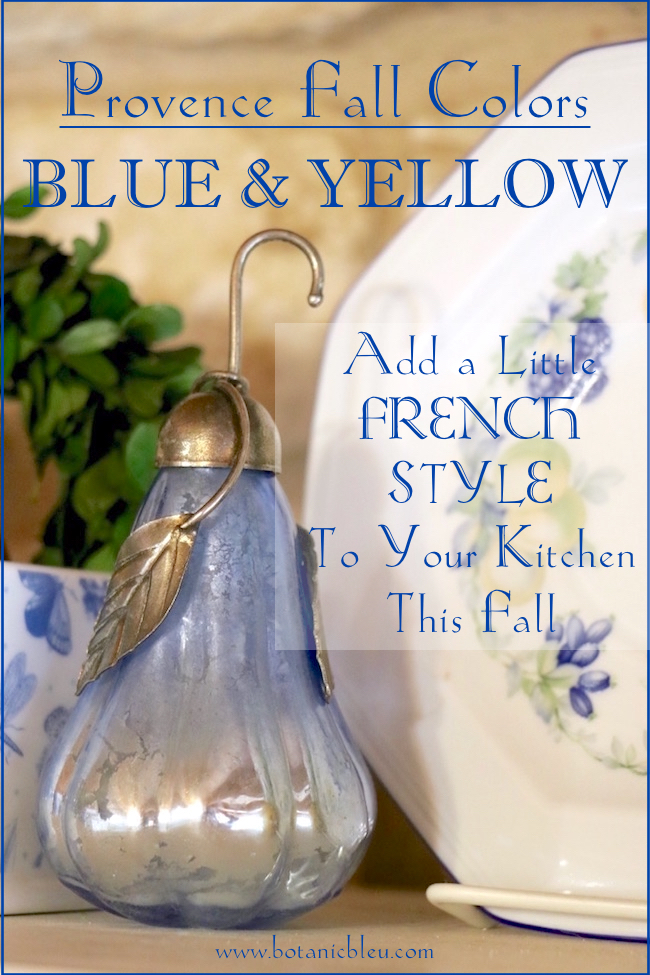 Welcome Fall decorating ideas for a kitchen shelf using Provence fall blue and yellow colors with a French twist