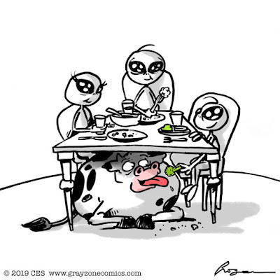 Aliens feeding a cow under the table