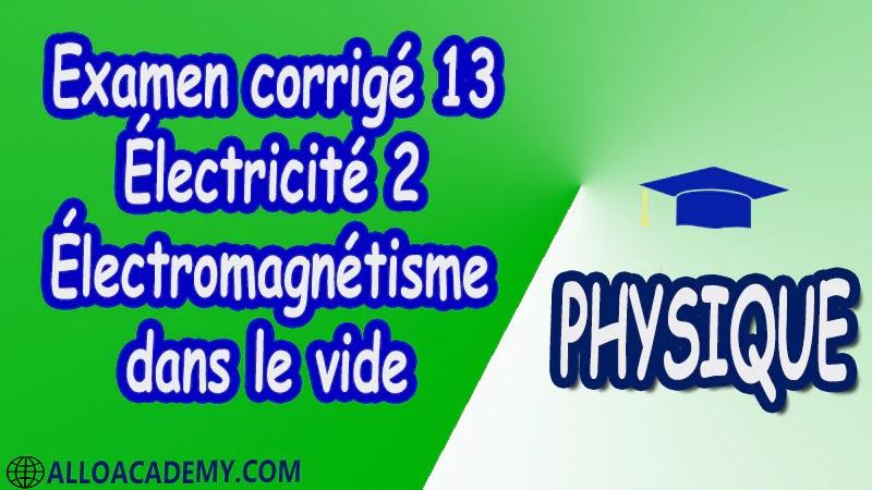 Examen corrigé 13 Électricité 2 ( Électromagnétisme dans le vide ) pdf