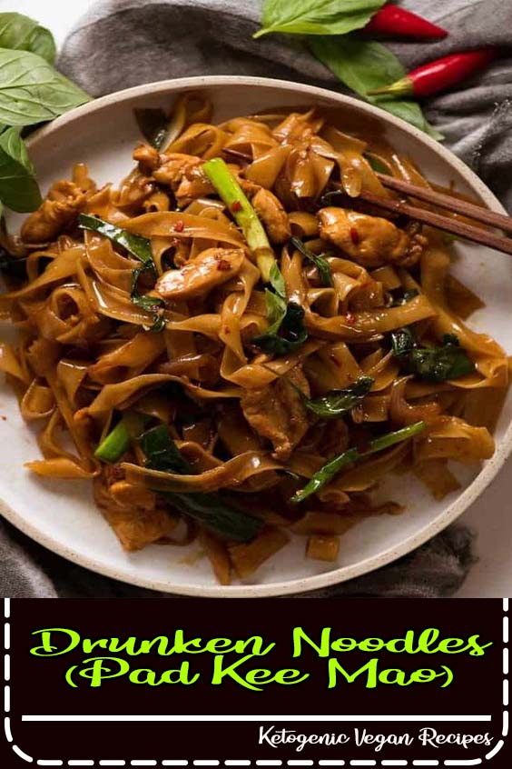 Make sure you have all ingredients ready to toss into the wok as once you start cooking Drunken Noodles (Pad Kee Mao)