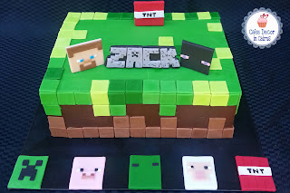 Mine Craft Inspired Cake Chocolate Rectangle Tier Fondant Green Brown Pixel Blocks TNT Steve Enderman Creeper Zombie Pig Sheep Characters  Birthday Cake