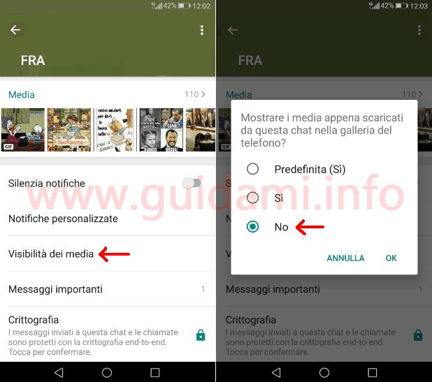 WhatsApp opzione per disattivare Visibilità dei media