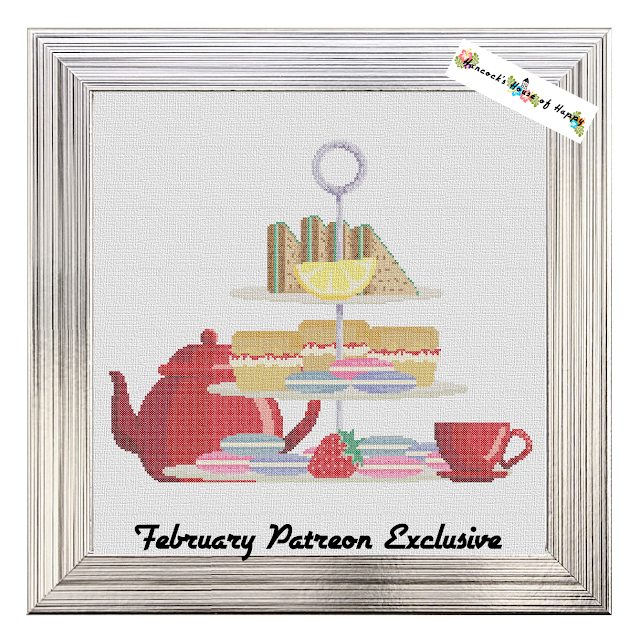 It is a huge and colourful high tea cross stitch pattern complete with macarons, finger sandwiches, and scones