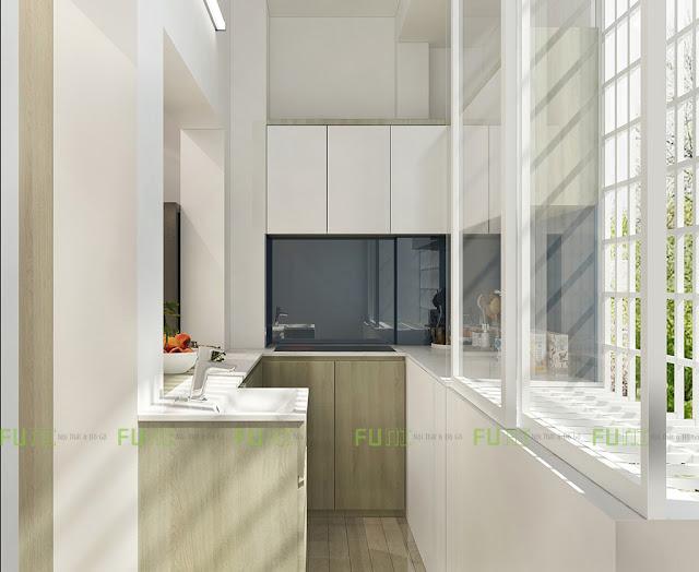 Thiết kế và thi công căn hộ chung cư ~30m2 có gác lửng - Khu bếp