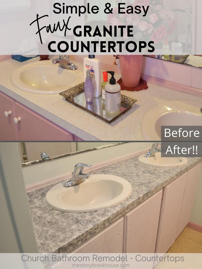 Simple & Easy Faux Granite Countertops