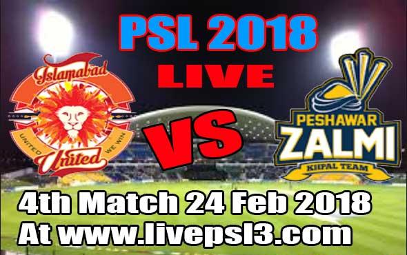 Live Islamabad united vs Peshawar Zalmi 4 match