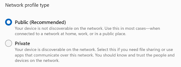 Image showing the option of either Public or Private network profiles. This is from Windows 11 where Public is marked as recommended.