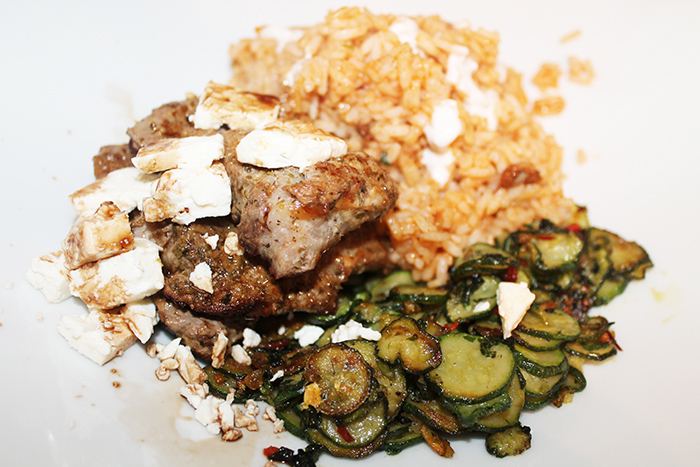 Feta Pork and Minted Courgette
