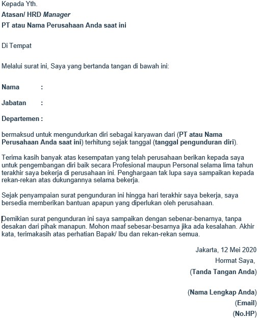 contoh surat pengunduran diri - format kertas