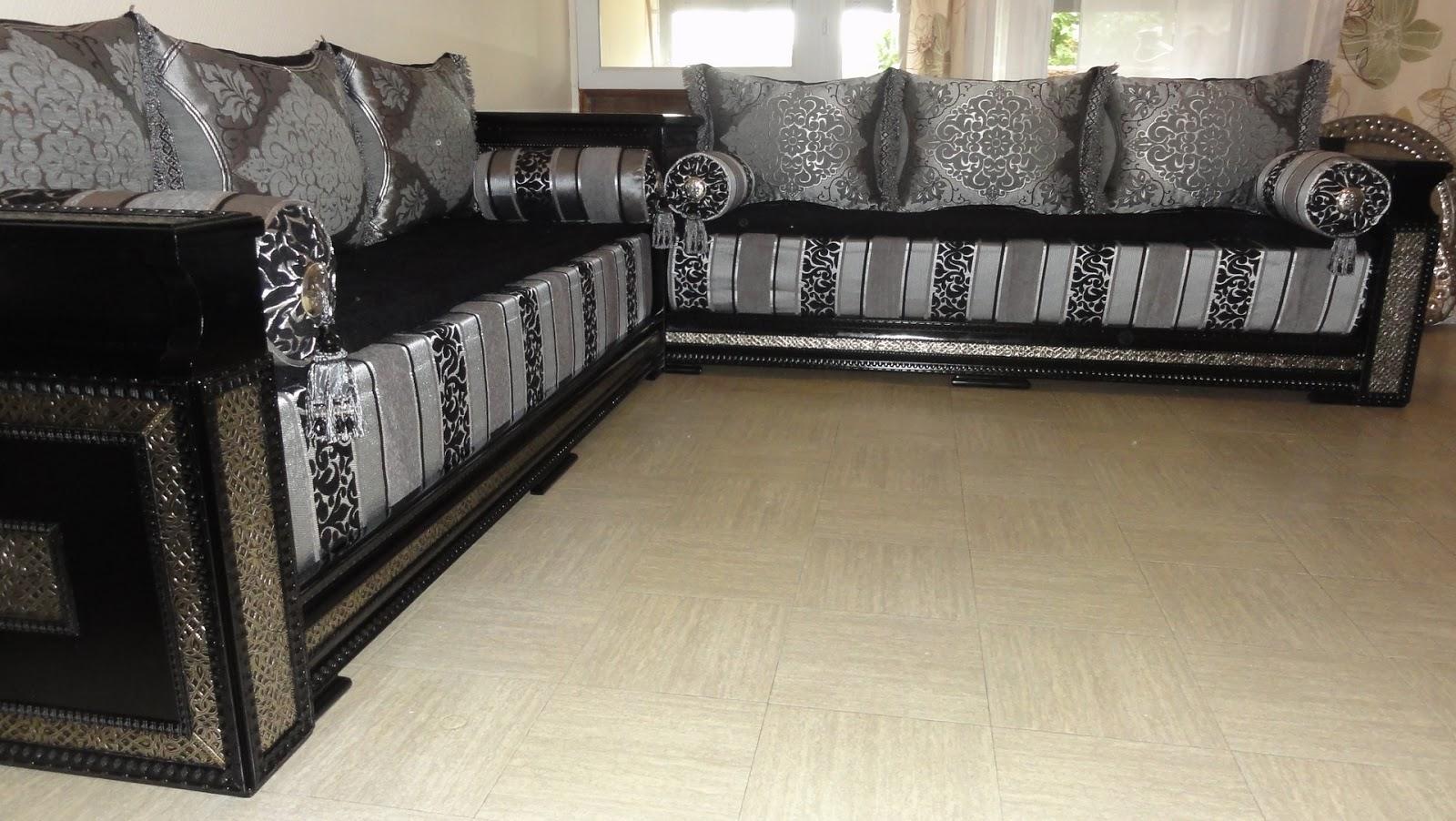 salon marocain noir et gris maison design. Black Bedroom Furniture Sets. Home Design Ideas