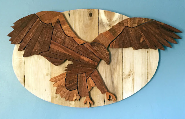 Eagle Wooden Wall Art made with Reclaimed Wood