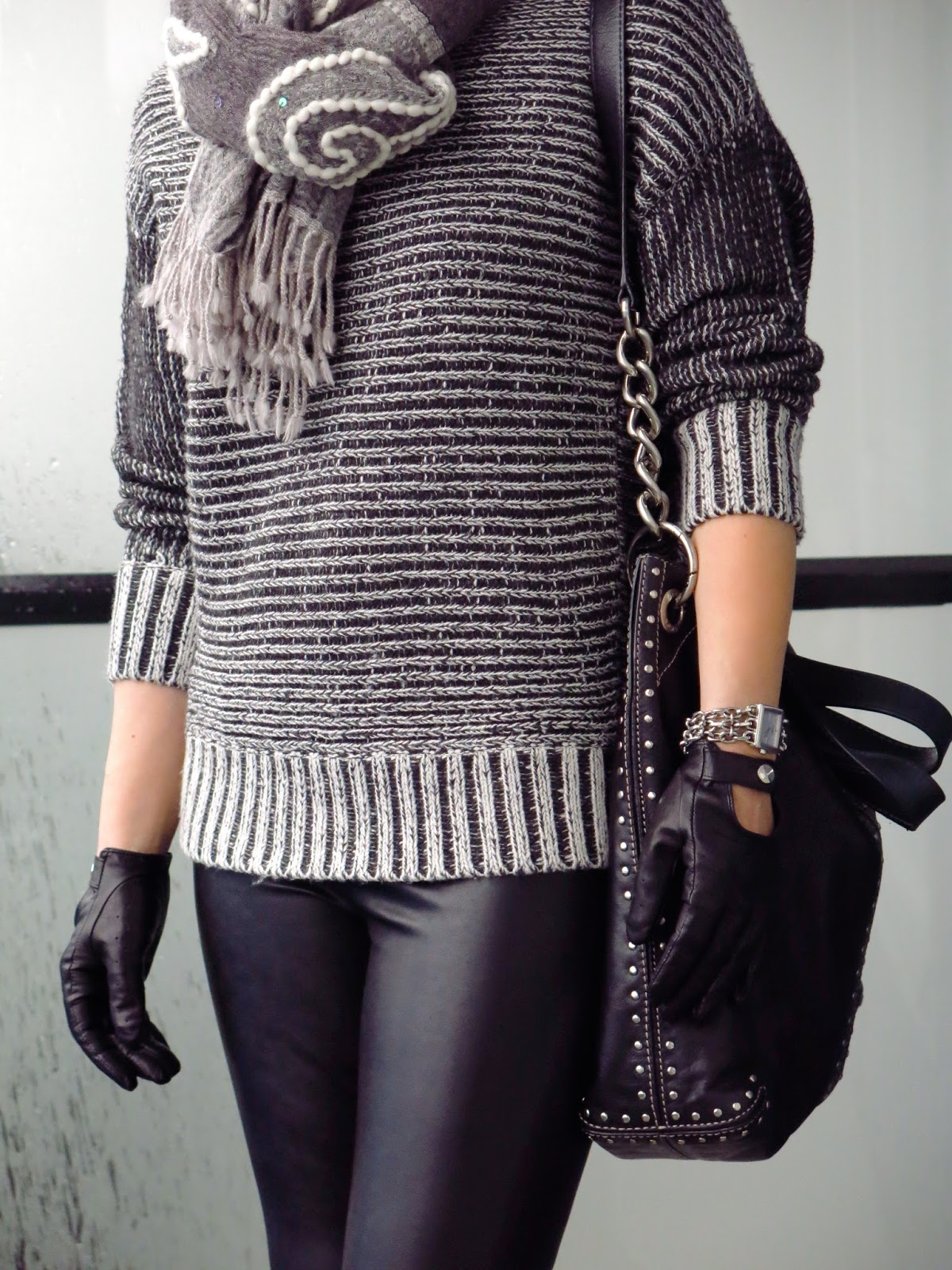 chunky sweater, embroidered scarf, Michael Kors bag, driving gloves