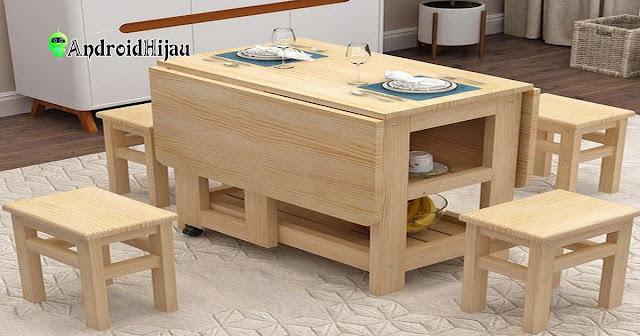 mengusung konsep meja makan lipat minimalis, akses ruang makan lebih luas dengan meja makan yang dapat dilipat
