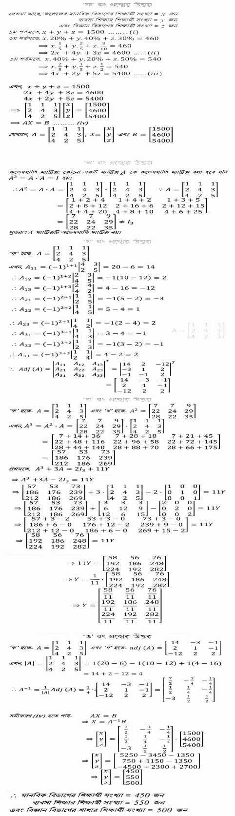 HSC 5th Week Higher Math Assignment Answer 2022