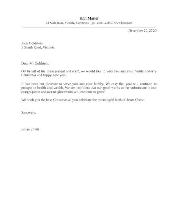 Christmas Letter Samples