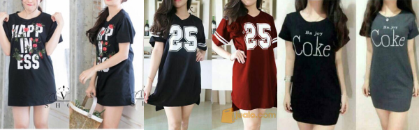 Custom & Sablon Baju Dress Kaos T-Shirt Wanita Short & Long Sleeve
