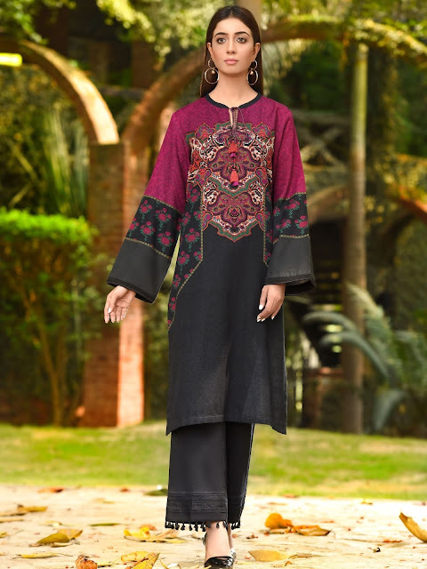 Limelight winter unstitched khaddar black shirt