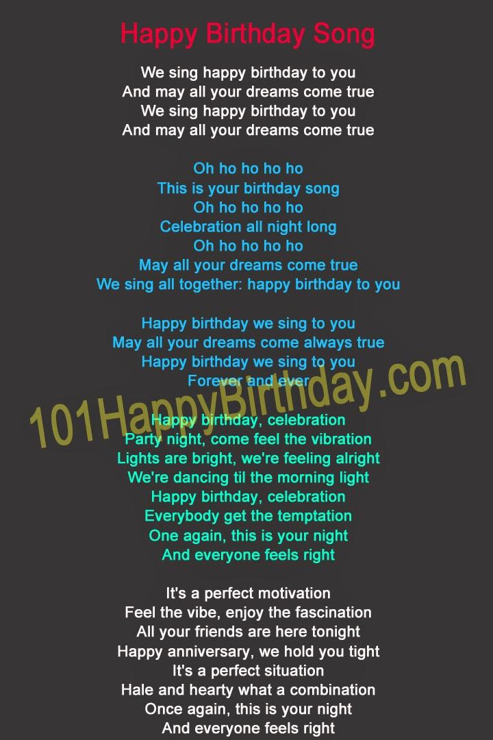 Lyric birthday song lyrics : Happy Birthday Song Text images