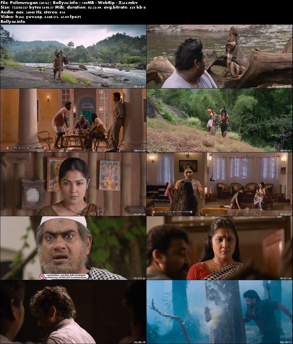 Screen Shoots of Watch Online Pulimurugan 2016 WEBRip 450MB Malayalam Movie 480p Free Download bolly4u.info
