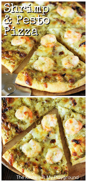 Shrimp & Pesto Pizza with Sun-Dried Tomatoes ~ Think outside the pizza box with homemade shrimp & pesto pizza! An amazing flavor combination that may just become a new family favorite.  www.thekitchenismyplayground.com