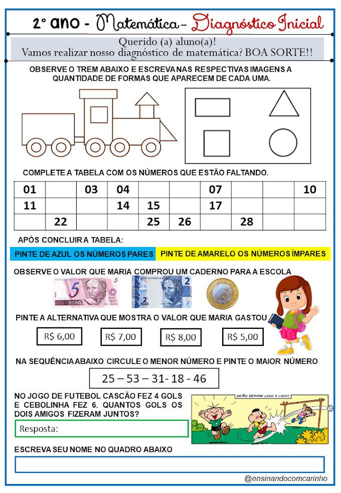 Diagnóstico Inicial de matemática para o 2º ano do ensino fundamental