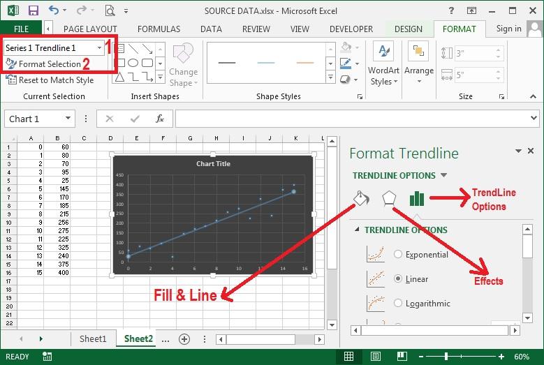 Cara membuat diagram scatter xy di microsoft excel 2013 2016 sebagai contoh anda ingin memformat trendline garis pada tengah diagram maka pada bagian chart element anda telah memilih series 1 trendline 1 ccuart Gallery