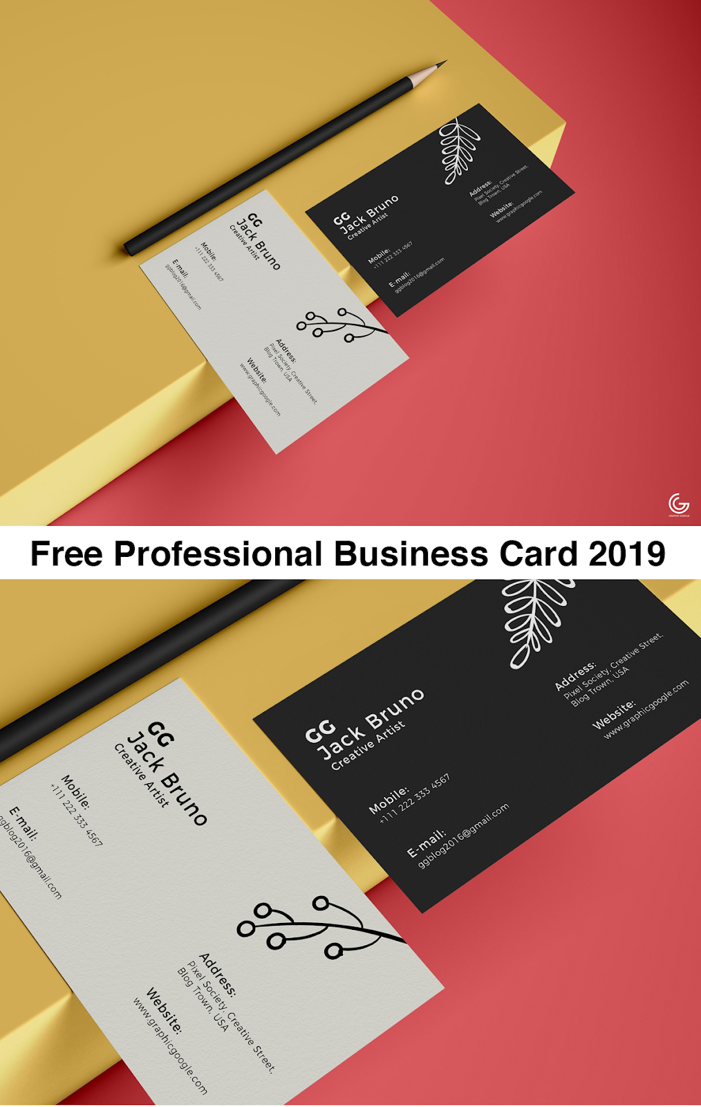 Free Brand Business Card Mockup PSD 2019, free business card mockup 2019
