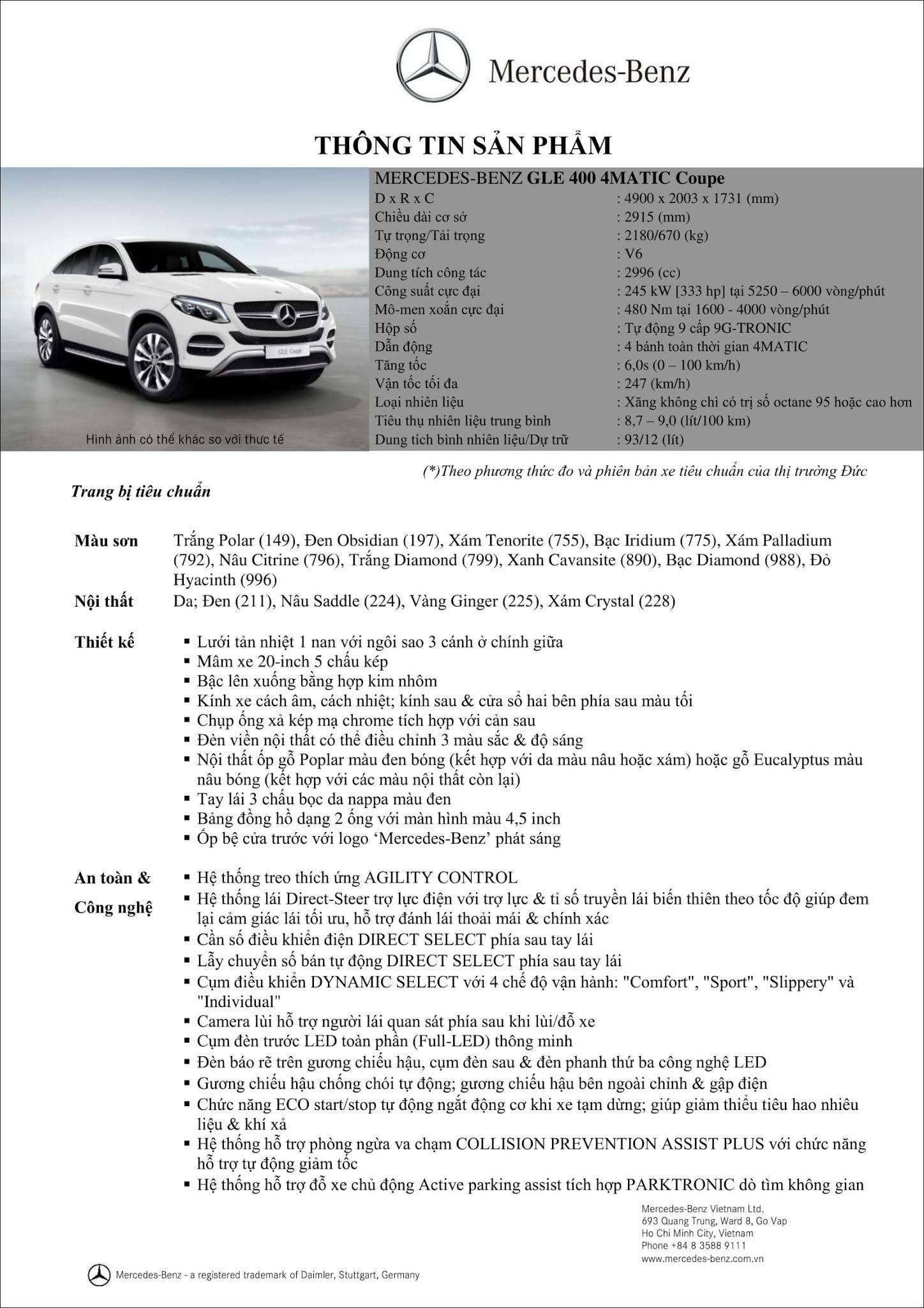 Bảng thông số kỹ thuật Mercedes GLE 400 4MATIC Coupe 2019