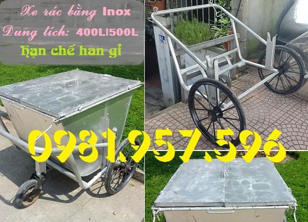 Xe gom rác inox 500L, xe gom rác inox 3 bánh xe, xe gom rác công nghiệp
