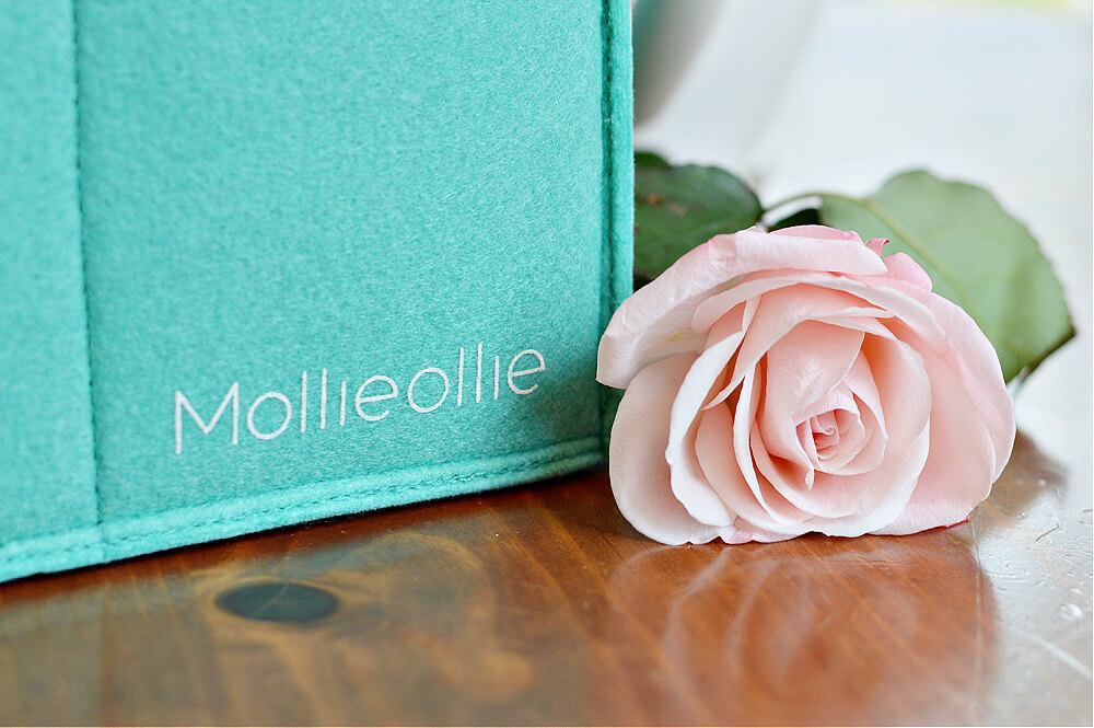 Mollie Ollie Mimmo Caddy In Teal next to a pink rose