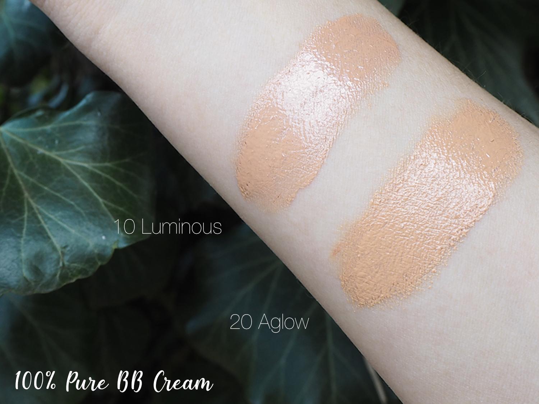 100% Pure BB Cream Swatches 10 Luminous und 20 Aglow