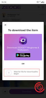 2. Tunggu 10 detik jika tidak ingin mendownload aplikasi Zedge di Play Store