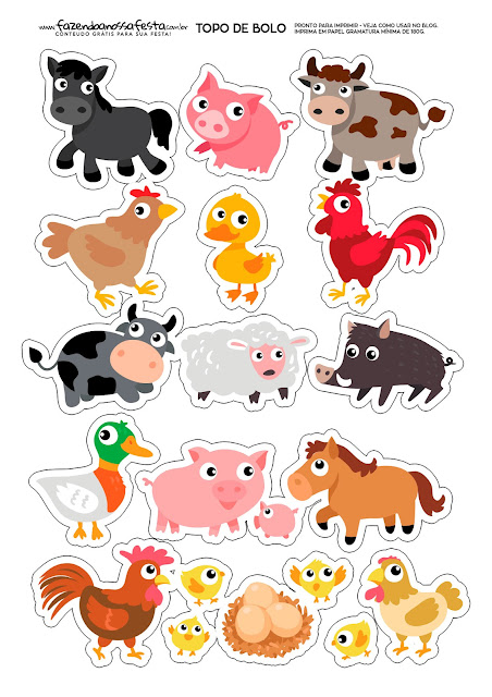 Baby Farm Animals: Free Printable Cake Toppers.