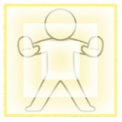 バリアを張る棒人間のイラスト(板)