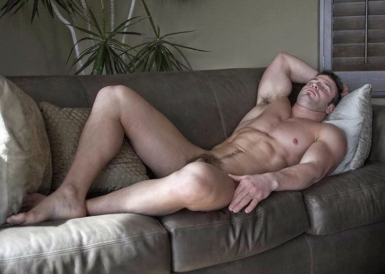 Fit muscled half naked man work stock photo