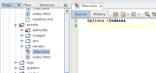 .htaccess pada folder assets