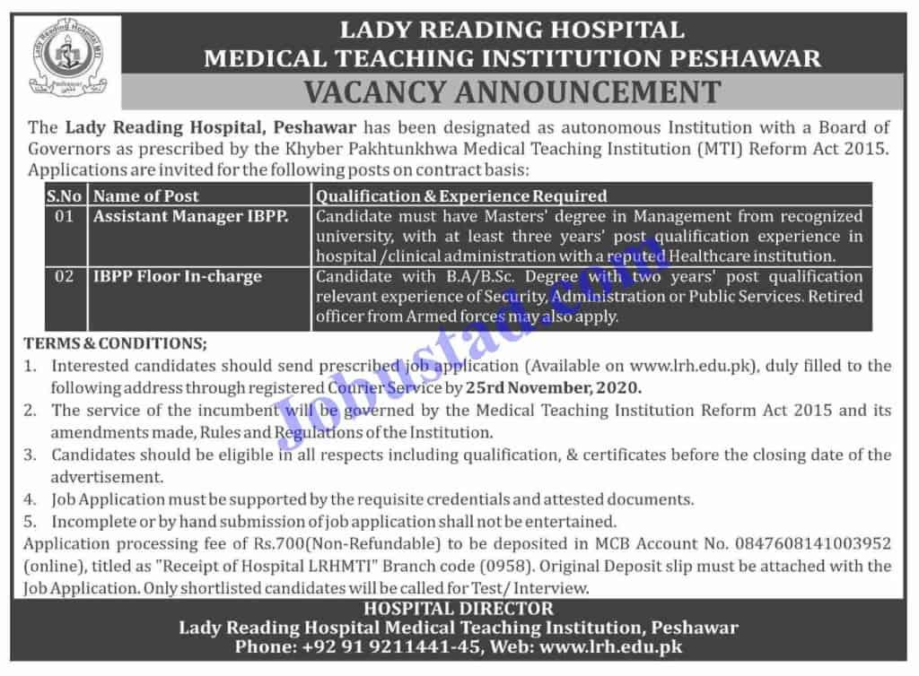 Jobs in Lady Reading Hospital (LRH) Peshawar Nov 2020